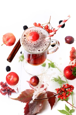 apple autumn hot drink on a white wooden background top view blackberry cinnamon fall leaves rowan