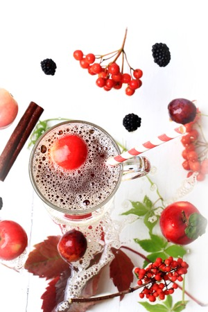 bubble acid: apple juice autumn hot drink on a white wooden background top view blackberry cinnamon fall leaves rowan