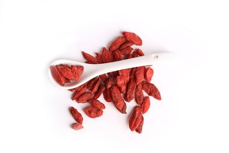 lycii: goji berries isolated on white background
