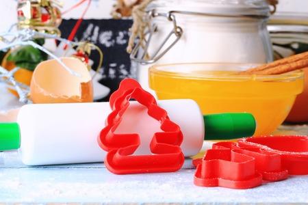 galletas de jengibre: Fondo de Navidad al horno galletas de jengibre Foto de archivo