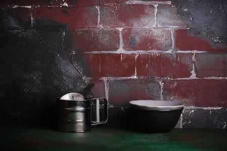 finite: double kitchen background rustic brick wall grunge Stock Photo