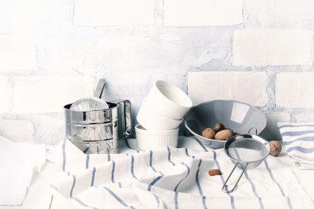 kitchen light background brickwork white lifestyle kitchenware