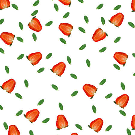 strawberries with mint pattern isolated on white background top view of a flat style