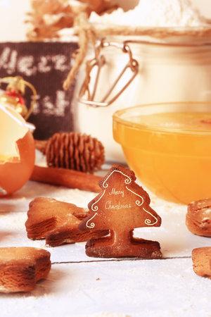 christmas background baked ginger cookies gingerbread, handmade