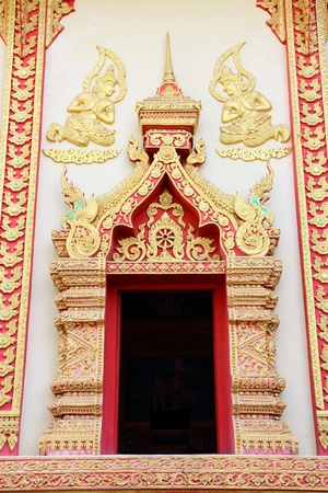 Traditional Thai style window temple  in Chaingrai