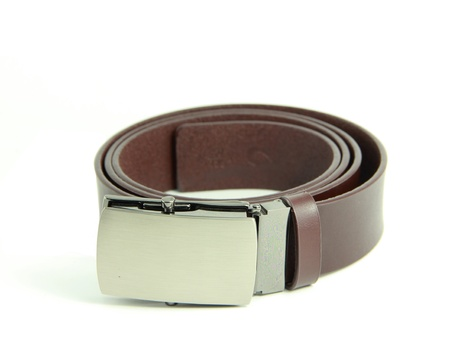 Brown mens leather belt on white blackground Stock Photo