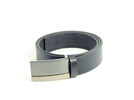 Mens leather belt on white blackground Stock Photo