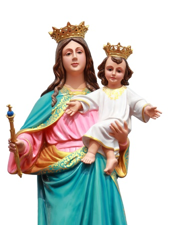 virgin with jesus statue on white background  photo