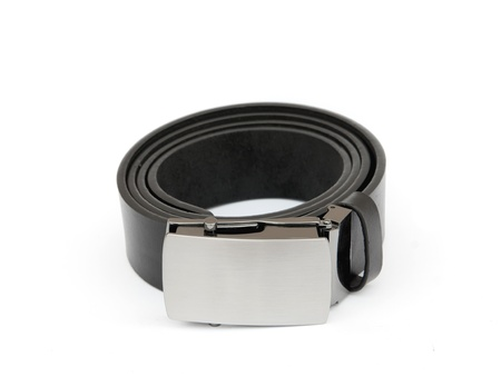 Black mens leather belt isolated on white background photo
