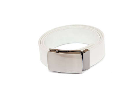 White mens leather belt isolated on white background