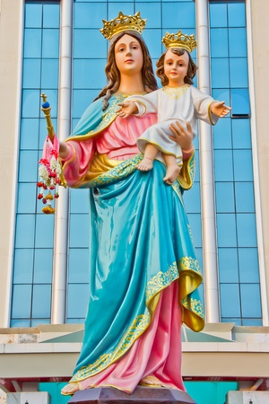 beautiful jesus: Virgin Mary with baby Jesus statue at Udonthani  province, Thailand  Stock Photo