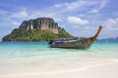 longtail boat and beautiful beach,Krabi Province,Thailand