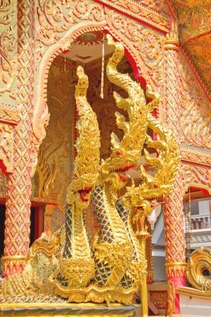 tripple: Tripple heads naka statue in Thai temple