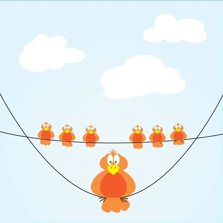 six small birds and one big bird on wire Illustration