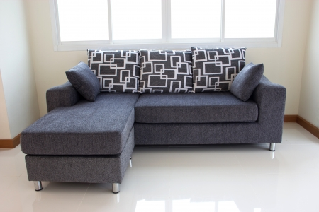 black sofa with pillows