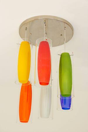 Modern colorfull chandelier Stock Photo