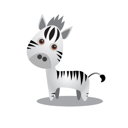 Illustration of a cute zebra on white Illustration