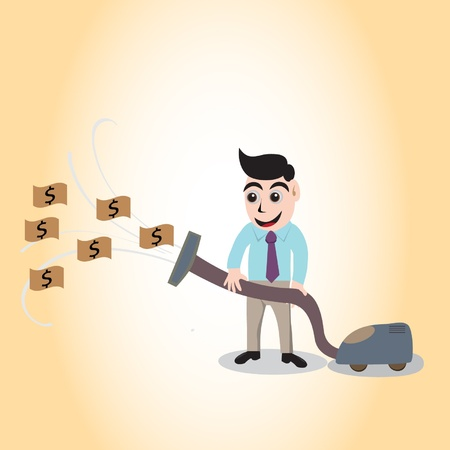 Concept with businessman and vacuum cleaner sucking money