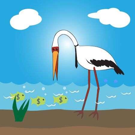 Concept Business stork want to eat money fish.