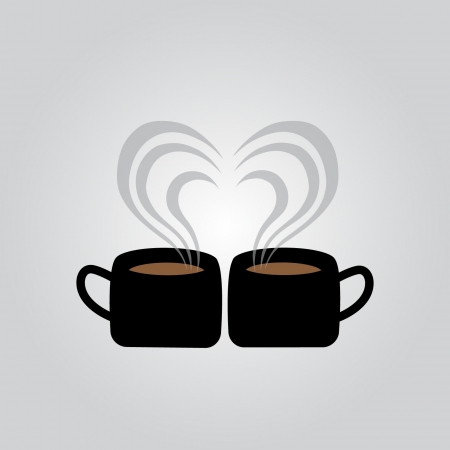 Coffee with a heart-shaped smoke Vector
