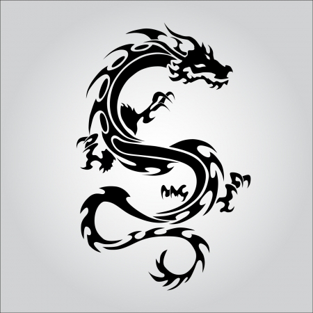 dragon tattoo design: Isolated tattoo of black dragon