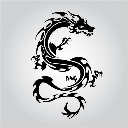 dragon tattoo: Tatouage de dragon noir isolé Illustration
