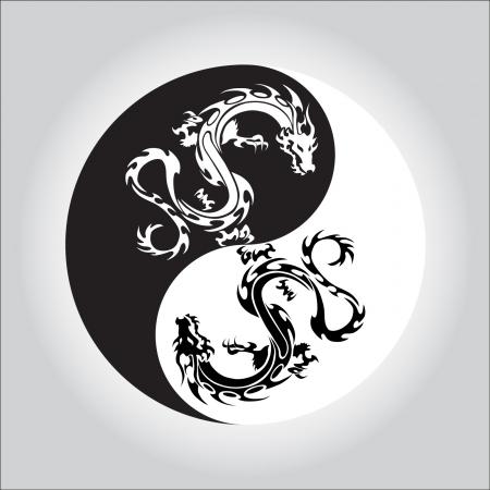 yin y yang: en blanco y negro dragón Yin yang símbolo