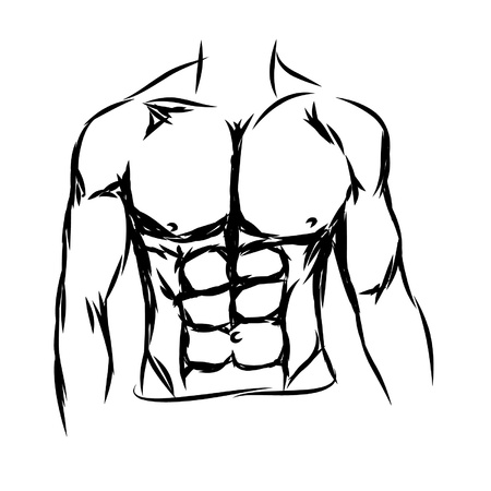 triceps: vector of of shirtless muscled fitness man