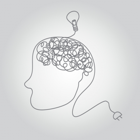 a brain on a wire with idea bulb.