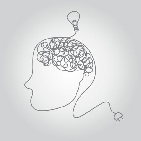 enchufe: un cerebro en un alambre con idea bombilla.