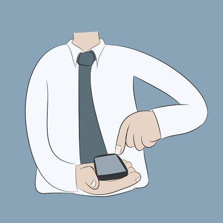 illustion: man using mobile smart phone,cartoon,vector eps10