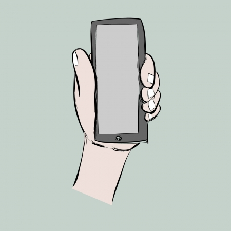 illustion: left hand show smart phone,cartoon,vector eps10 Illustration