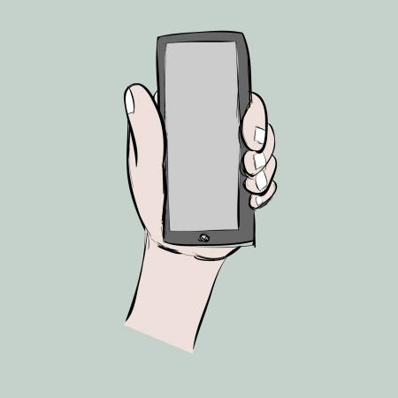 left hand show smart phone,cartoon,vector eps10 Stock Vector - 19987026