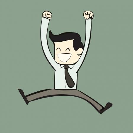 happy cartoon office worker  Illustration