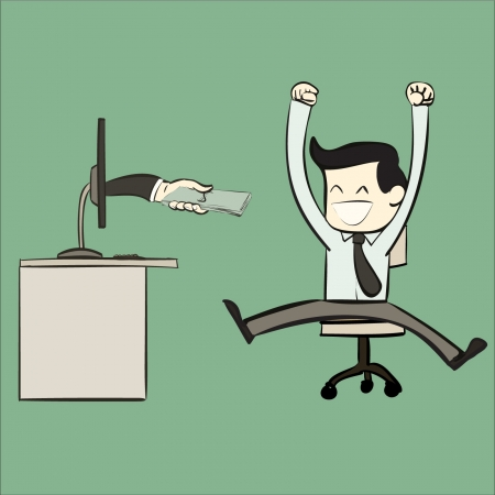 happy cartoon office worker wiht money pay from pc  Illustration