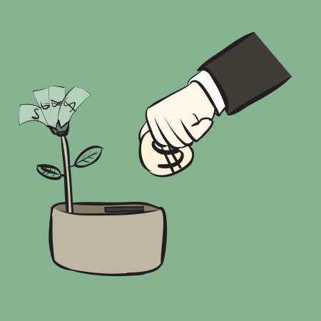 concept, insert coin for money tree growth, cartoon