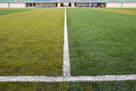 Halfway line of a football field photo