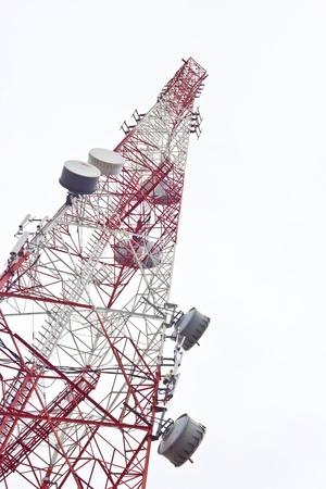 communication antenna tower isolated on white Stock Photo