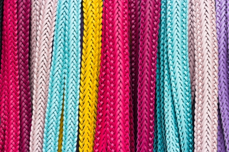 display texture of colorful woven belts Stock Photo