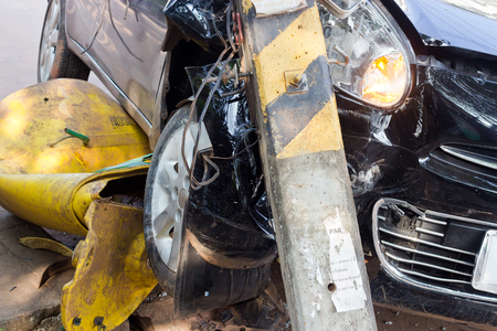The image of car crashes into eletricity pole Stock Photo