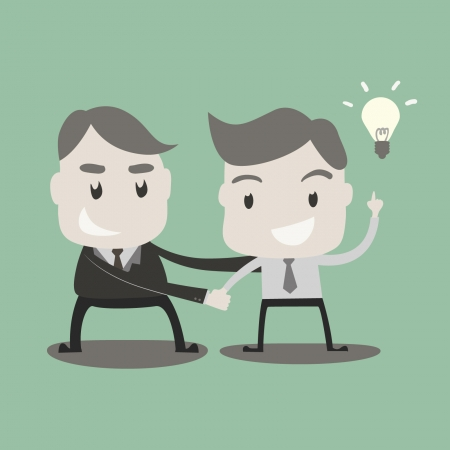 Business people got idea and shaking hands