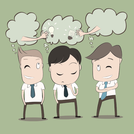 Vector cartoon of Businessmen will thinking to steal idea from another man. Vector