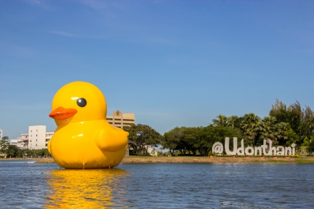 UDONTHANI - NOVEMBER 15: Giant Rubber Duck in Nong Prajak Park, on 15 November 2013 in Udonthani.