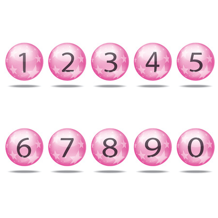 collection of numbers - Pink spheres. Vector