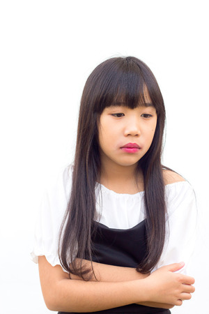 Sulky angry young girl child, sulking and pouting. Isolated on white background photo