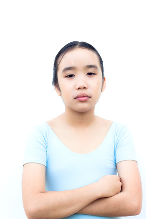 brooding: Brooding Asian Girl on white background.