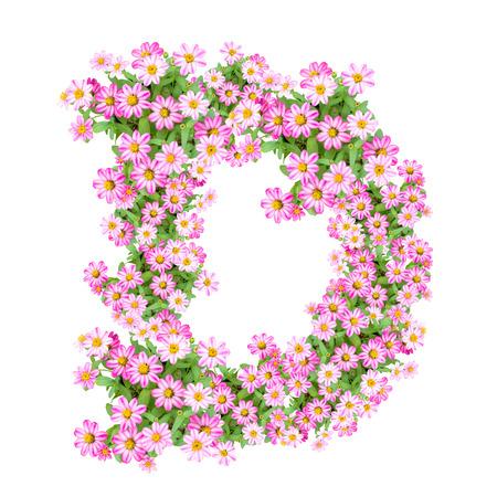 Letter D alphabet with zinnia flower ABC concept type as logo. Typography design Banco de Imagens