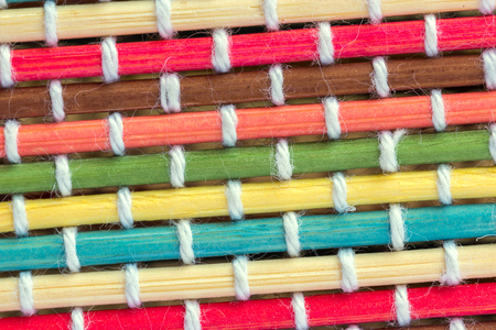 Close up color bamboo mat texture