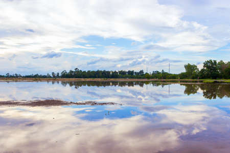 blue water background: landscape with reflection on river sky and clouds