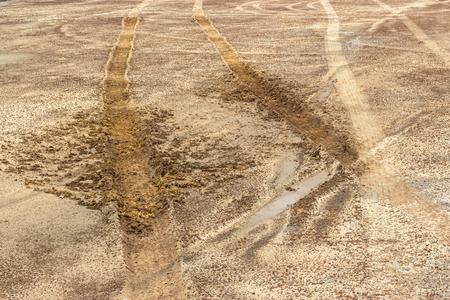 marshy: Wheel tracks on marshy road after raining